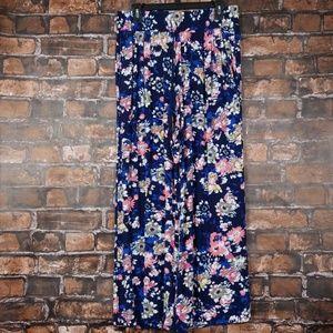 New Directions| Floral Tie Waist Wide Leg Pant